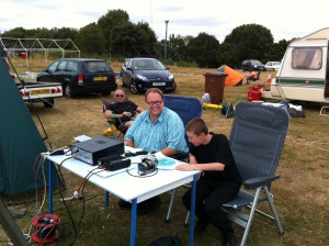 Peter G0IAP, George M1GEO and Aaron operate the outside HF station