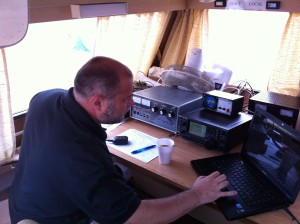 Dave, M0TAZ, operates HF from inside the club caravan